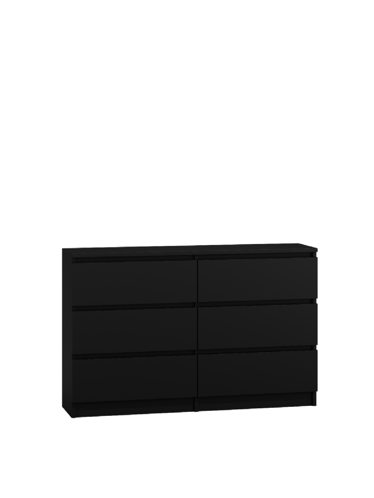 Moderna Black - 6 Drawer